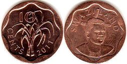 coin Swaziland 10 cents 2011