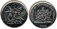 coin Trinidad and Tobago 10 cents 2008