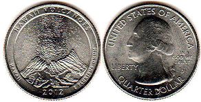 coin US commemorative coin 1/4 dollar 2012 quarter National Parks - Hawaii  Volcanoes