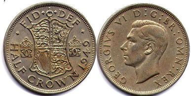 coin UK coin 1/2 crown 1949