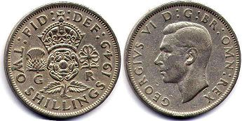 coin UK coin 2 shillings 1949