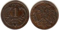 coin Austrian Empire 1 heller 1915