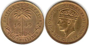 coin TWO SHILLINGS BRITHSH WEST AFRICA GEORGIVS VI