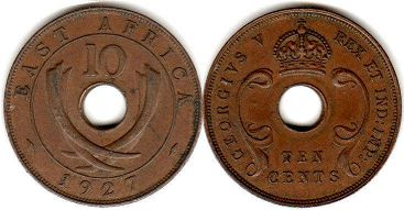 coin BRITISH EAST AFRICA 10 cents 1927
