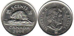 canadian coin 5 cents 2008