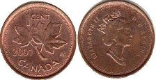 canadian coin 1 cent 2001