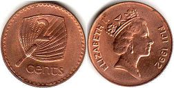 coin Fiji 2 cents 1992