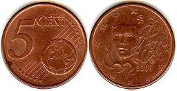 coin France 5 euro cent  2006