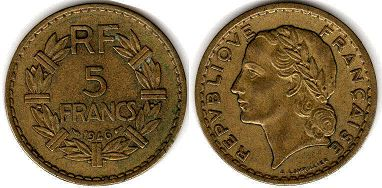 piece French Colonies 5 centimes 1946