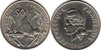coin French Polynesia 50 francs 1967