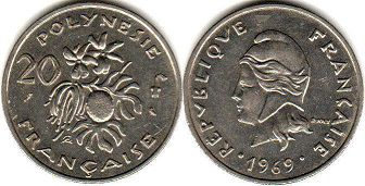 coin French Polynesia 20 francs 1969