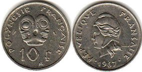 coin French Polynesia 10 francs 1967