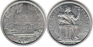 coin French Polynesia 2 francs 1965
