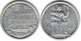 coin French Polynesia 1 franc 1965