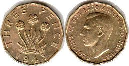 coin UK coin 3 pence 1943