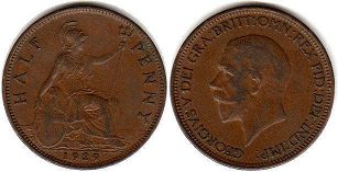 coin UK old coin half penny 1929
