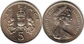 coin UK coin 5 new pence 1977