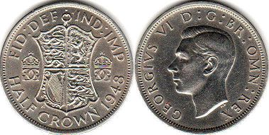 coin UK coin 1/2 crown 1948