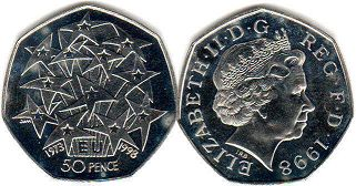 coin UK coin 50 pence 1998