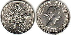 coin UK coin 6 pence 1964