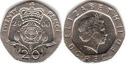 coin UK coin 20 pence 2000