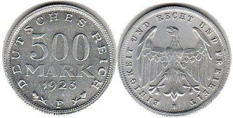 coin German Weimar 500 mark 1923
