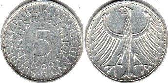 coin Germany 5 mark 1966