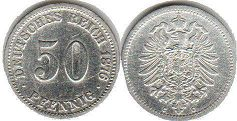 coin German Empire 50 pfennig 1876