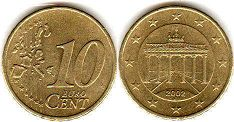 coin Germany 10 euro cents 2002