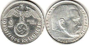 coin Nazi Germany 2 mark 1938