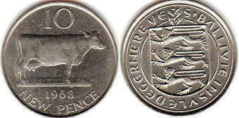 coin Guernsey 10 new pence 1968