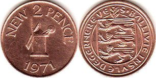coin Guernsey 2 new pence 1971