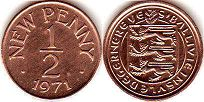 coin Guernsey 1/2 new penny 1971