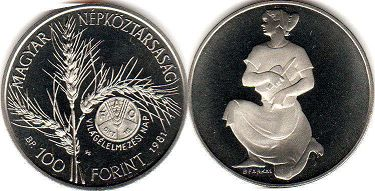 coin Hungary 100 forint 1981