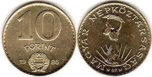 coin Hungary 10 forint 1986