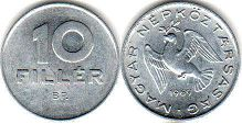 coin Hungary 10 filler 1969