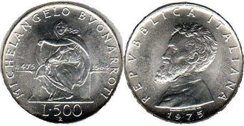 coin Italy 500 lire 1975