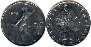 coin Italy 50 lire 1969