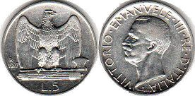 coin Italy 5 lire 1927