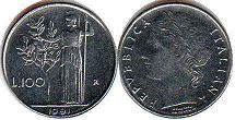 coin Italy 100 lire 1991