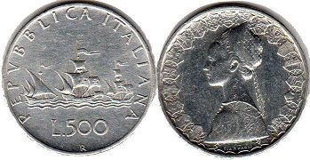 coin Italy 500 lire 1966