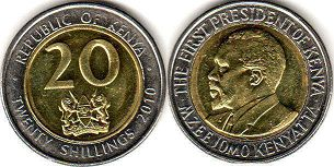 coin Kenya 20 shillings 2010