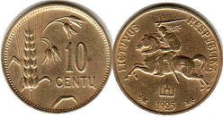 coin Lithuania 10 centu 1925