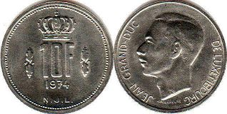 coin Luxembourg 10 francs 1974