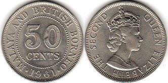 coin Malaya 50 cents 1961