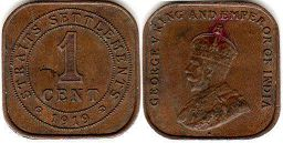 coin Straits Settlements 1 cent 1919