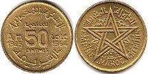 piece Morocco 50 centimes 1945