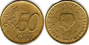 coin Netherlands 50 euro cent 1999