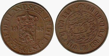 coin Netherlands East-Indies 2 1/2 cents 1945