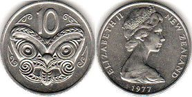 coin New Zealand 10 cents 1977